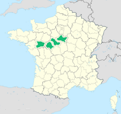 map showing Loire Valley location within France