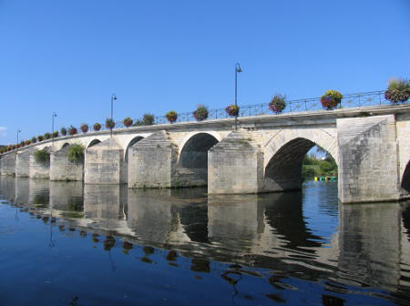 bridge over the river Creuse at  Descartes in Indre et Loire, France