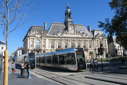 Tram in front of town hall in Tours