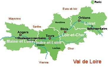 Loire Valley map showing departments
