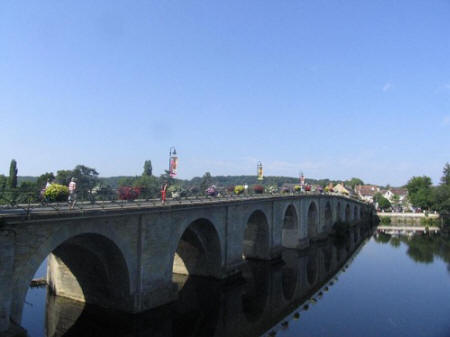 looking over the bridge at  Descartes in Indre et Loire, France