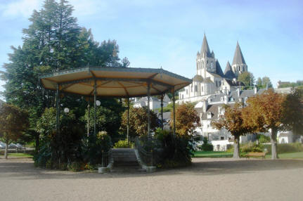 banstand in gardens at Loches