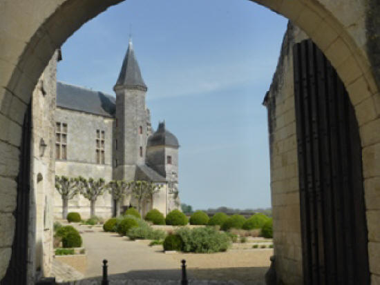 Looking through the main entrance arch at the chateau in Le Grand Pressigny