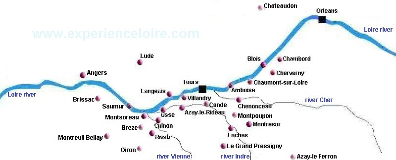 Loire Valley chateaux map showing major chateaux