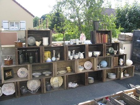 Brocante display in the Loire Valley
