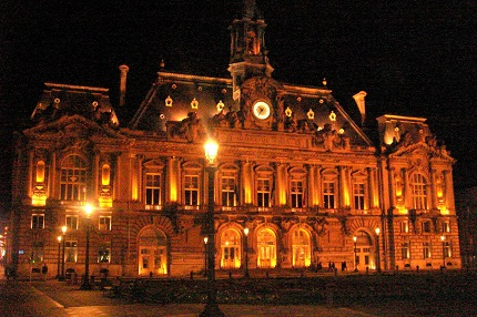 Hotel de Ville at night in the city of Tours in the Loire Valley