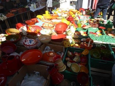 Ceramics at Langeais Sunday market in the Loire Valley