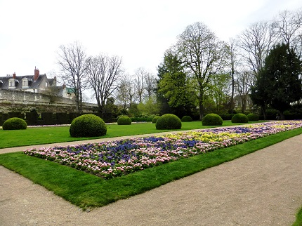 Gardens at Musee des Beaux-arts in the city of Tours in the Loire Valley