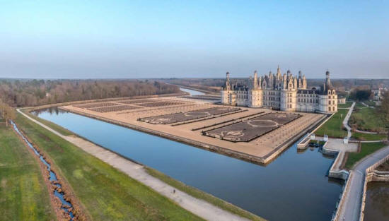 the reinstated formal gardens at Chateau de Chambord in the Loire Valley.