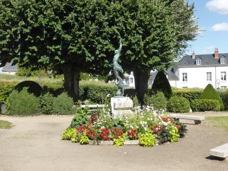 statue in the Bishop's garden in  Blois in the Loire Valley