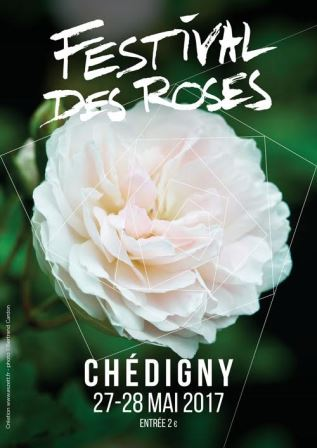 Poster advertising Chedigny reose festival in the Loire Valley