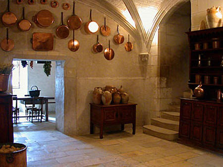 Copper pot display in the kitchens of Chateau de Chenonceau