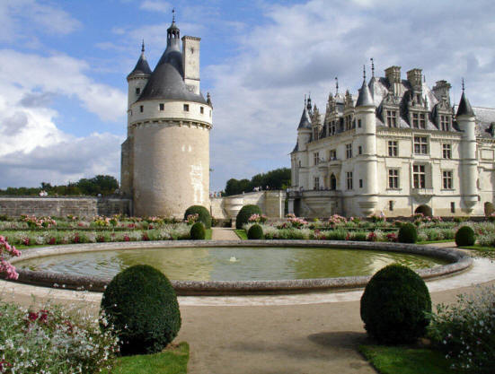 View of Chateau de Chenonceau in the Loire Valley from the gardens of Catherine de Medici