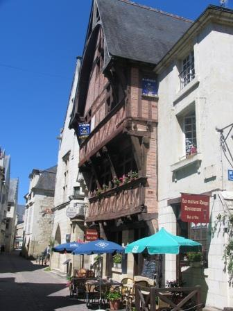 Chinon street view with half timbered house