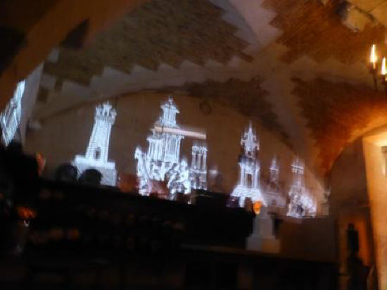 slide show in wine cellar at Chateau de Valencay France