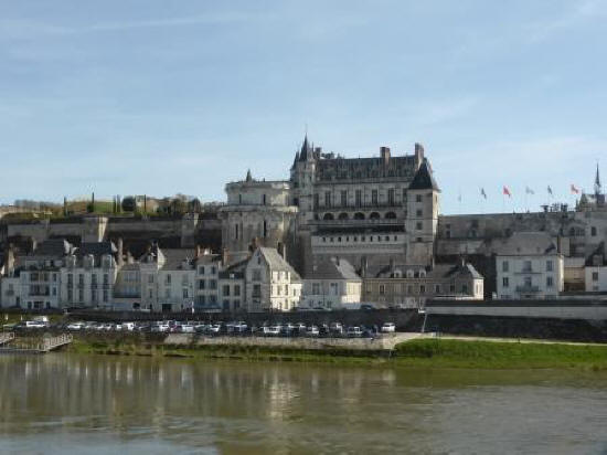 Anboise and its chateau on the bankx of the river Loire in France