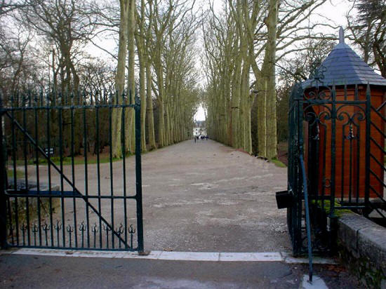 gate entrance to avenue leading to chateau de Chenonceau