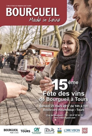poster advertising the Bourgueil wine fair in Tours in 2017