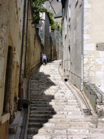 Steps up to the cathedral in Blois