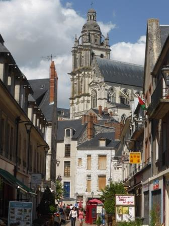 Looking up to the cathedral from the street below in  Blois in the Loire Valley