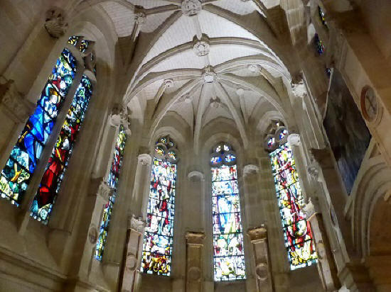 stained glass windows in the private chapel of Chateau de Chenonceau
