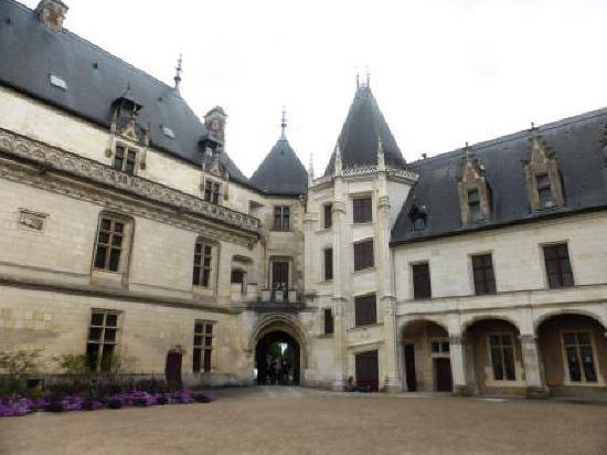 Courtyard of Chateau de Chaumont-sur-Loire in the Loire Vally in France