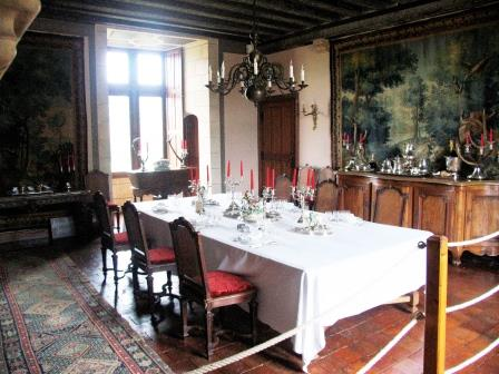 diningroom in Chateau de Montpoupon in the Loire Valley in France