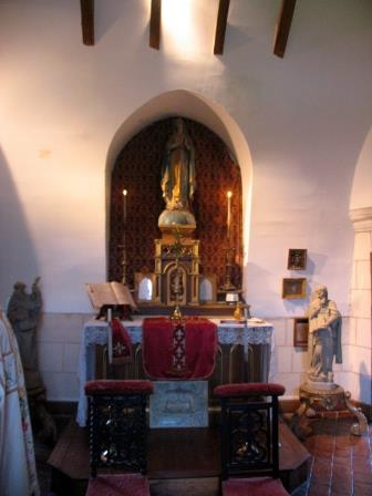 Altar in the chapel  of the poterne ay Chateau d Montpoupon in the Loire Valley in France
