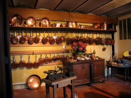pots in the kitchen in Chateau de Montpoupon in the Loire Valley in France