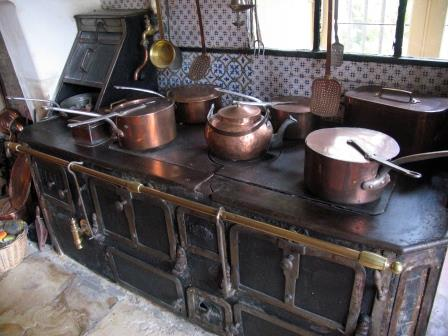 in the kitchen in Chateau de Montpoupon in the Loire Valley in France