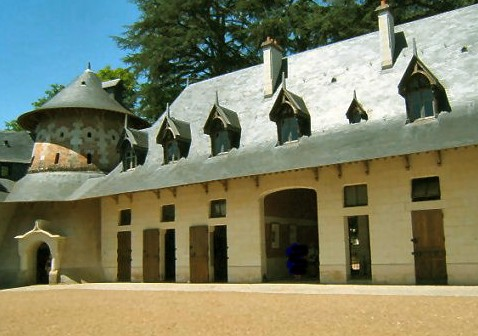 Exterior view of stables at Chateau de Chaumont-sur-Loire in the Loire Vally in France
