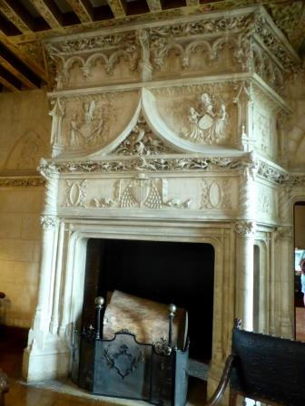Ornate fireplace at Chateau de Chaumont-sur-Loire in the Loire Vally in France