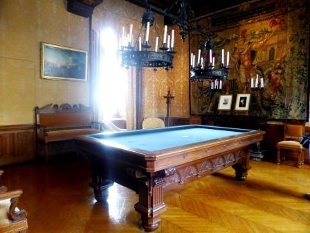 Billiard room at Chateau de Chaumont-sur-Loire in the Loire Vally in France