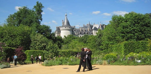 View of Chateau de Chaumont-sur-Loire in the Loire Vally in France from the garden festival