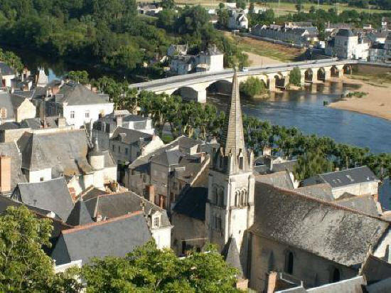 looking down on the bridge over the river Vienne from the chateau at chinon