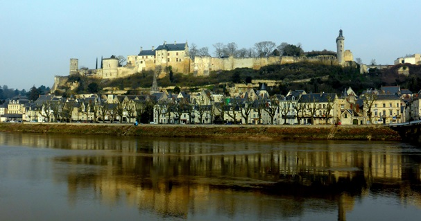The medieval town of Chinon seen from the other side of the Vienne river