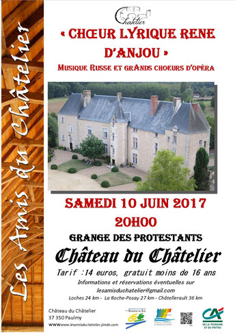 Poster advertising concert at Chateau du Chatelier