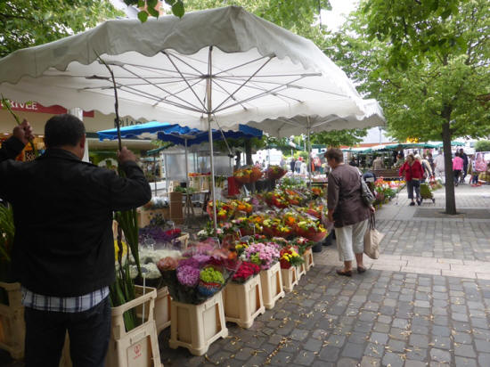 Flowers on sale at Loches market