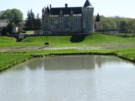 View of Chateau de Montpoupon in the Loire Valley in France from over the pond