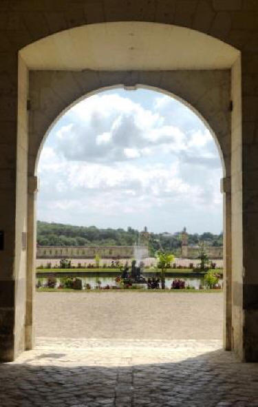 view from Chateau de Valencay of the gardens
