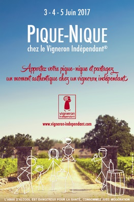 Poster advertising picnic with independent wine growers of the Loire Valley