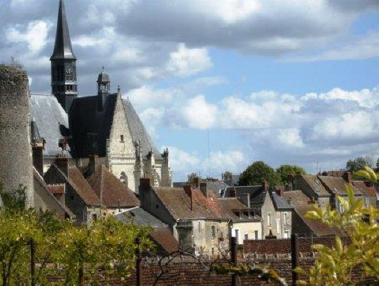 Houses and church in Montresor France