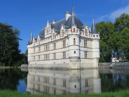 chateau Azay le Rideau resting on the river Indre