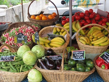 fruit and vef stall at  Descartes Market in Indre et Loire, France