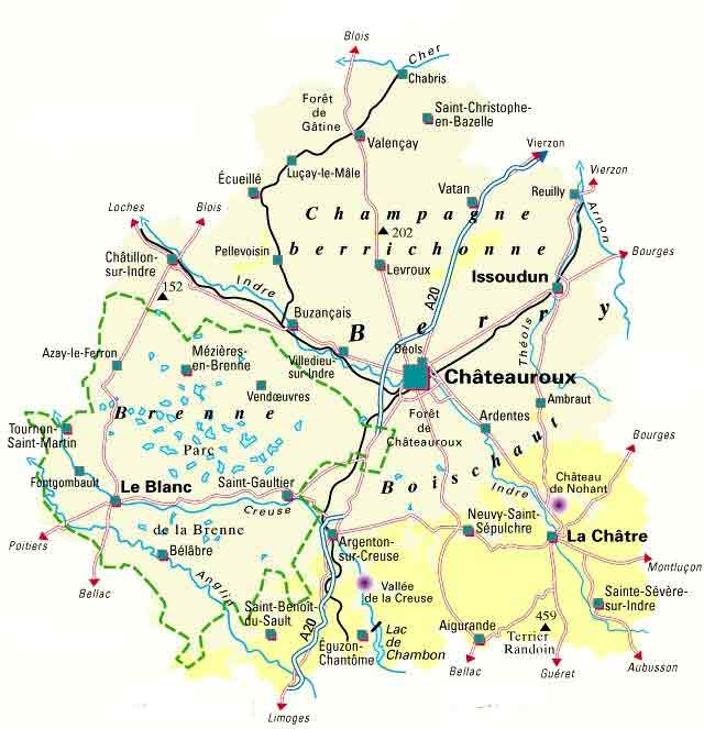 map of Indre, France