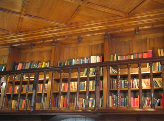 books on display in the library of chateau Cande in the Loire Valley in France