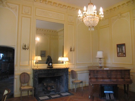 music room of chateau Cande in the Loire Valley in France