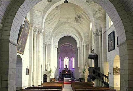 inside St Oars church in Loches