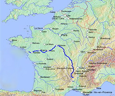 Map showing route of the river Loire