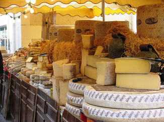 cheese for sale at Loches market